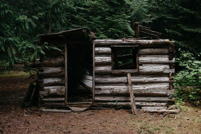 abandoned log cabin