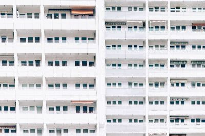 white apartment blocks