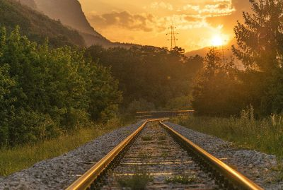 rail at sunset