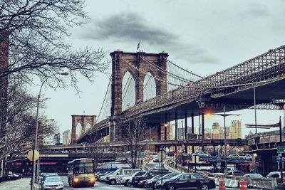 car and bridge scenery