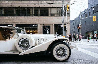 classic car on city street
