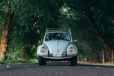 nostalgic volkswagen on a nature ride