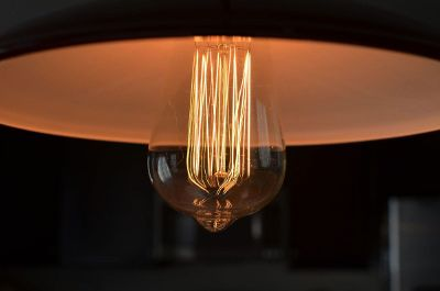filament light bulb in overhead lamp