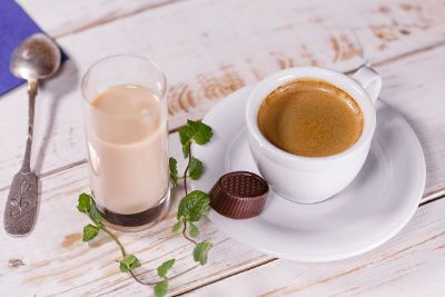 cup of coffee and chocolate snack