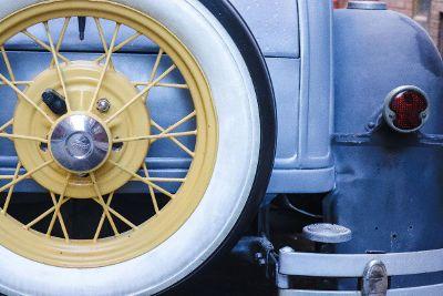 back of light blue vintage car