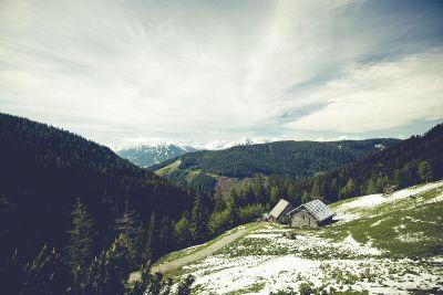 little cabin on a mountain