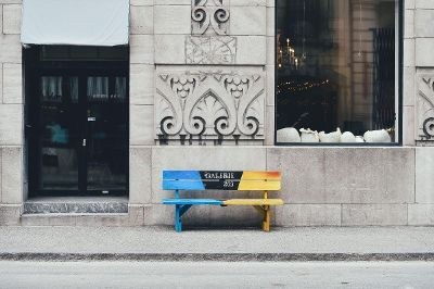 gallery bench in the street