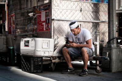 vendor taking a break