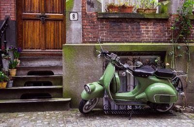 painting of a scooter