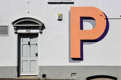 letter p on wall
