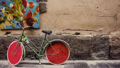 bicycle with watermelon wheels on the road