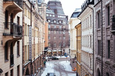 winter time on a european street