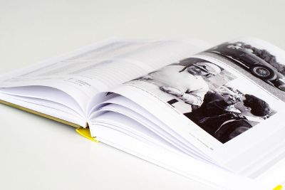 black and white photo in opened book