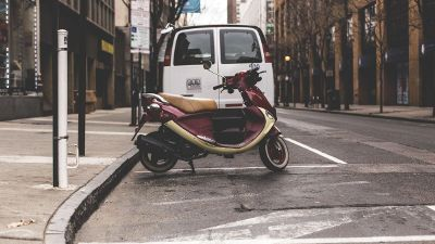 parked scooter on street