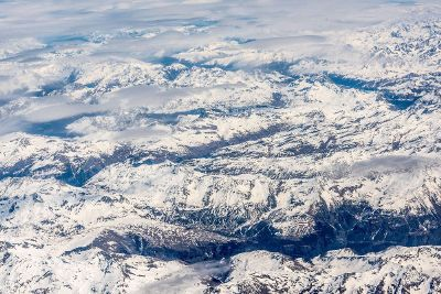 snowy mountains from above