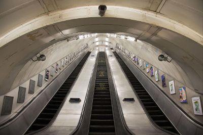bottom of an escalator