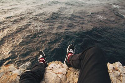 feet hanging over the edge