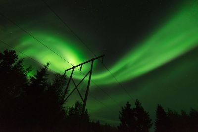 aurora borealis over power lines