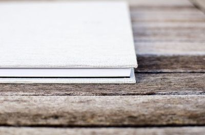 book on wood surface