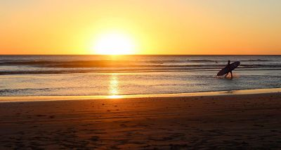 sunset on surfer beach