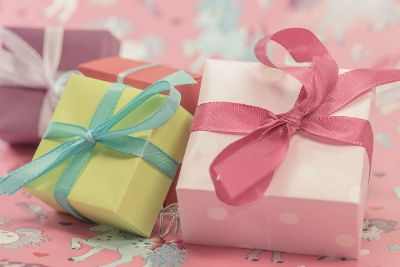 small colorful wrapped gift boxes