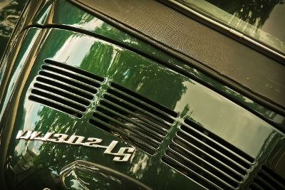 car exhaust painted in green