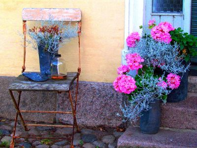 flowers and chair near a doorstep