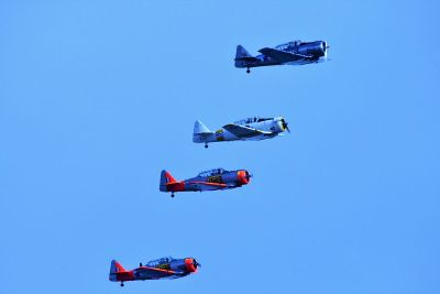 four airplanes in formation