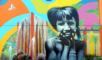 street art mural of a girl