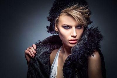 girl in faux fur