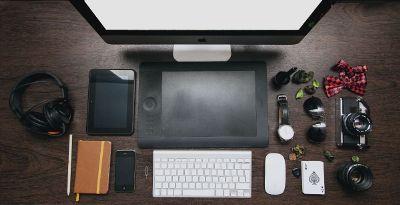 overhead view of desktop