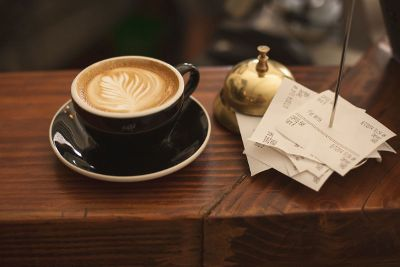 coffee with reciepts