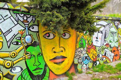 mural with modern street art