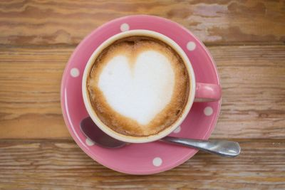 cappuccino with heart shaped foam