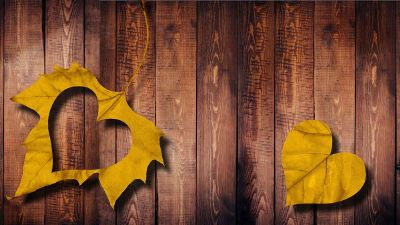 leaf with cutout heart shape