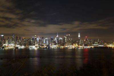 night view of skyscrapers on waterfront