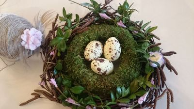three eggs in a decorative nest