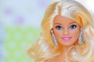 close up barbie doll face