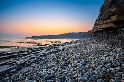 rocky beach at sunrise