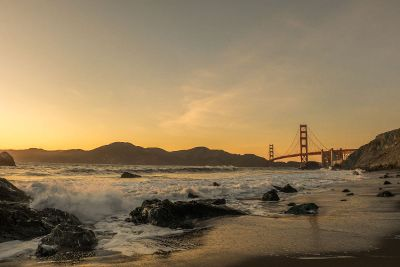 sunlight over golden gate bridge