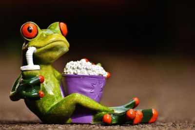frog watching a movie