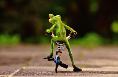 green frog riding a bike