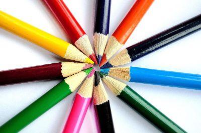 wheel of colored pencils