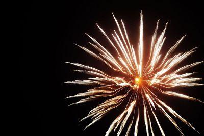 firework exploding in circular pattern