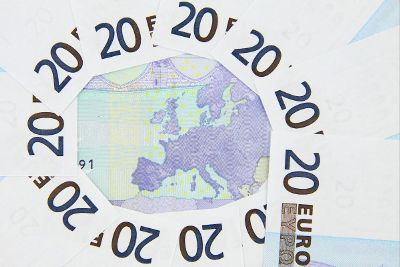 european map surrounded by euros