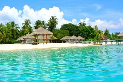 huts on tropical beach
