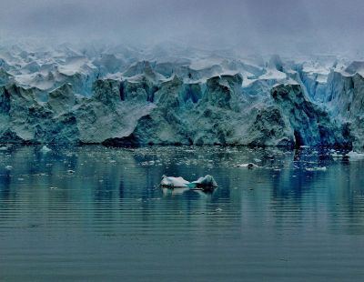 mountainous view from icy water