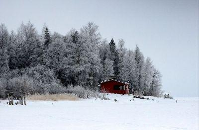 hut on the winter