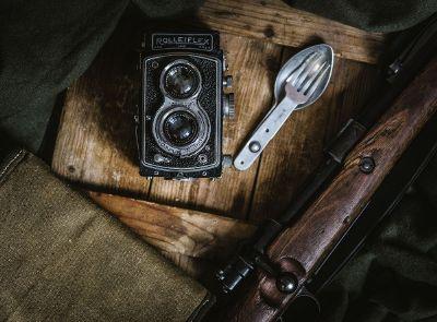 vintage items on table