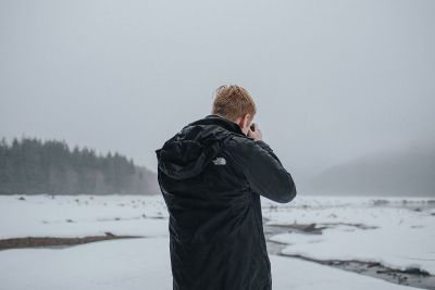 photographing frozen land